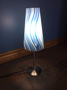 Two blue lamps