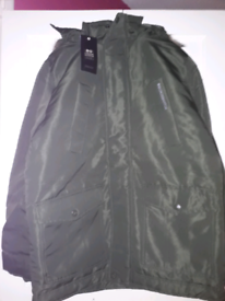 Mans forest green parka coat size s brand new