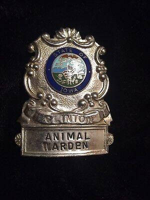 Vintage Clinton Iowa Animal Warden Cap Badge