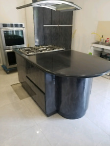 Granet top  kitchen island and cabinet