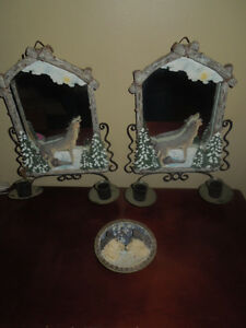 Wolf Wall Mirror Sconces & Plate