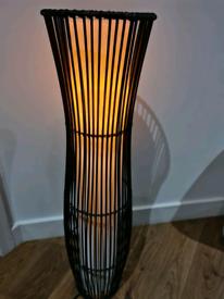 Black rattan floor lamp