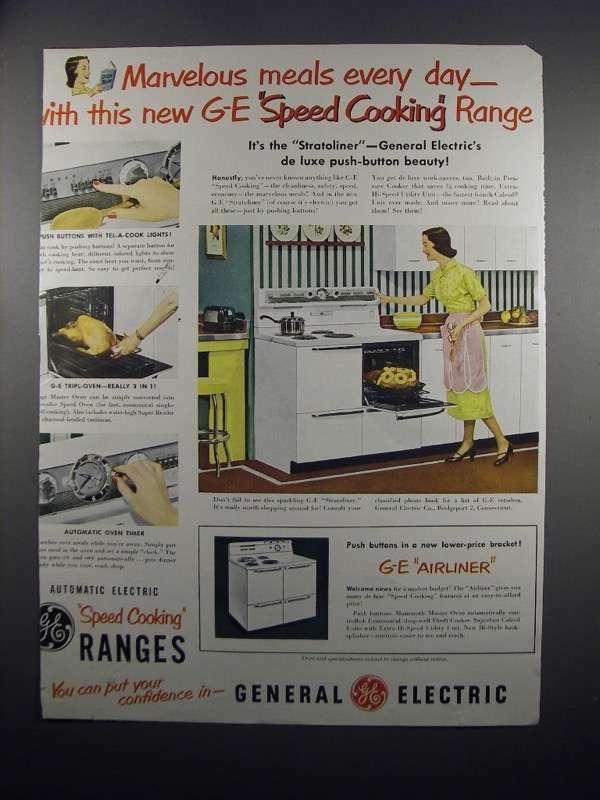 1951 General Electric Stratoliner Range Ad - Marvelous