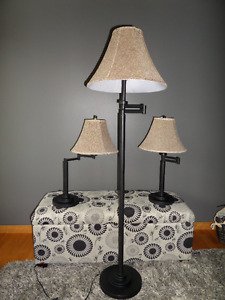 Floor lamp and 2 side table lamps