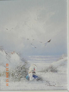 Painting (Young girl by the ocean) P-4 West Island Greater Montréal image 2