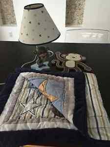 Baby bedroom lamp, bed cover and decor