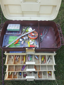 Fishing Rod and Tackle Box and Vintage Lures