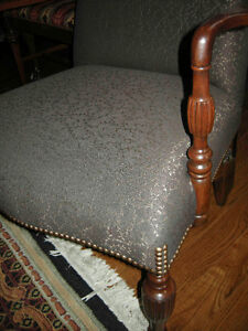antique vintage arm chair new brown upholstery with footstool Oakville / Halton Region Toronto (GTA) image 2