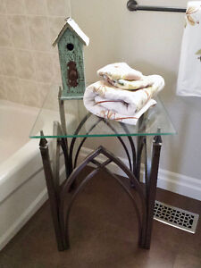 Glass and Iron Accent Table