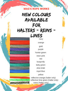 Hand tied rope halters, reins and lead ropes Mag's Rope Works