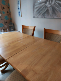 4/6 seater pine dining table and chairs
