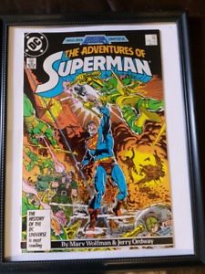 Superman issue #426 framed comic book