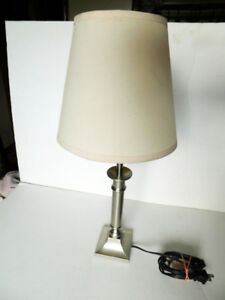 Silver tone stem desk or table lamp with shade working