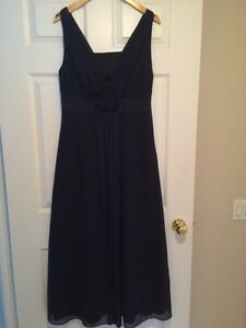 satin/ transparent organza navy shimmer evening gown , size L