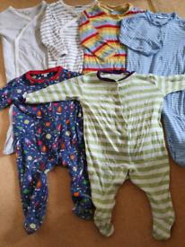 Jojo mama bebe x6 sleepsuits onezys mainly 12 to 18 months.