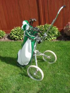 Golf Clubs ,Bag and Cart - Circa 1970