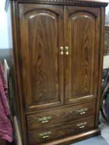 BEAUTIFUL ~CLOTHING ARMOIRE ~ FROM COULTERS ~DARK WALNUT FINISH Windsor Region Ontario image 1