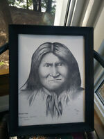 Pencil/Charcoal etching of Native Chief Geronimo