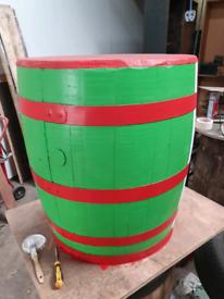 Refurbed Solid oak 3 quarter whisky barrel table