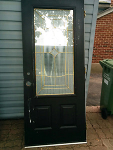 Steel Door with Large Stained Glass Panel