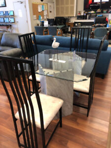 Beautiful Glass Dining Set With High Back Chairs