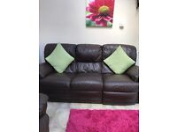 Leather Sofa and 2 Chairs Reclining