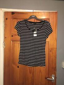 Ladies black and white stripey top