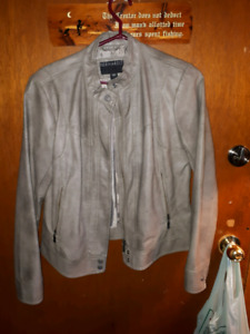 Grey pleather  womans jacket.(large)