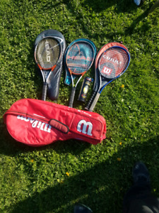 Tennis racquets and covers and carrying bag
