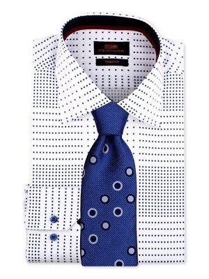 Dress Shirt Only Steven Land Trim&Classic Fit Button Barrel Cuff-Blue-TA1855-BL