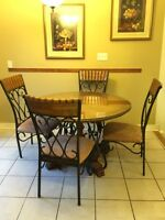 Elegant and Classic Wood/Iron Dining Table and 4 Matching Chairs
