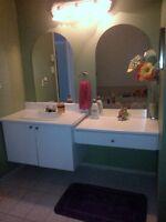 Vanité salle de bain et douche