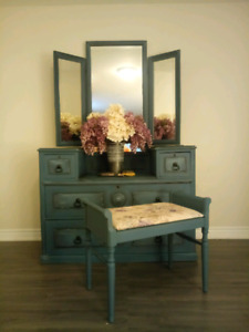 Vintage Vanity and Bench