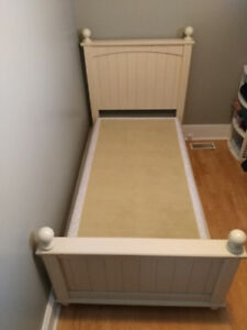 Twin box spring and bed frame.