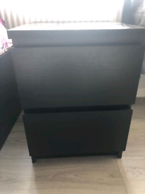 Black IKEA Malm bedside locker (2 drawers)