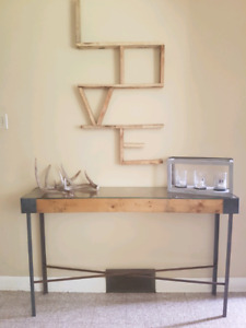 Custom built entry way table and wall decor