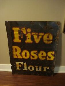 VINTAGE FIVE ROSES FLOUR PORCELAIN ADVERTISING SIGN $250