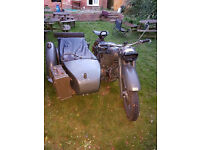 KMZ K-750 W URAL motorcycle with side car ex-army Russian bike