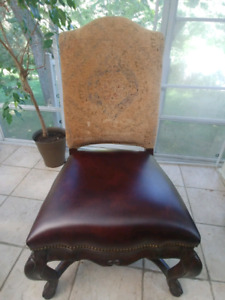 Chaises Thomasville bois massif-cuir-tissu