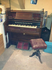 antique pump organ & stool