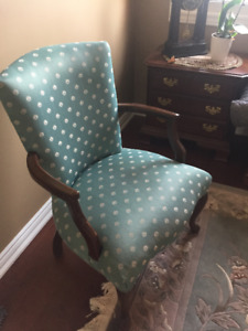 2 Light Green Classic Arm Chairs