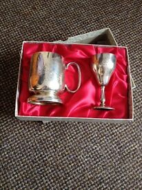 Boxed engraved tankard and goblet set