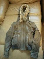LIKE NEW: Danier Leather Jacket w/faux fur hood