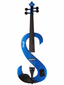 Silent Violin Set with Case, Metallic Blue
