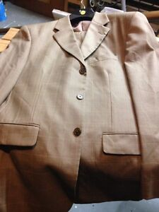 Two men's suits:  khaki and dark gray