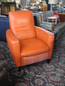 Beautiful Orange/Red Leather Recliner