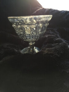 Glass Silver  Pedestal Vase- fill with Flowers/Fruit**Price Drop