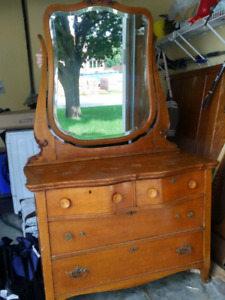 Antique bed and matching dresser