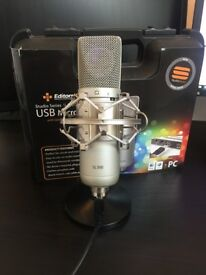 EditorsKeys Professional SL300 Condenser USB Microphone - Hard case, table stand & more - Like New
