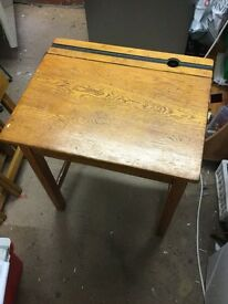 Vintage Old Wooden School Desk